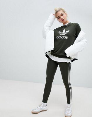 adidas Originals Three Stripe Legging In Khaki in 2019 | I