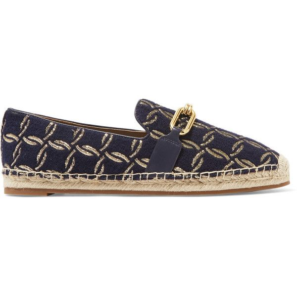 Michael Kors Collection Lennox leather-trimmed jacquard espadrilles ($195) ❤ liked on Polyvore featuring shoes, sandals, navy blue espadrilles, navy flat shoes, flat shoes, espadrille flats and slip on shoes