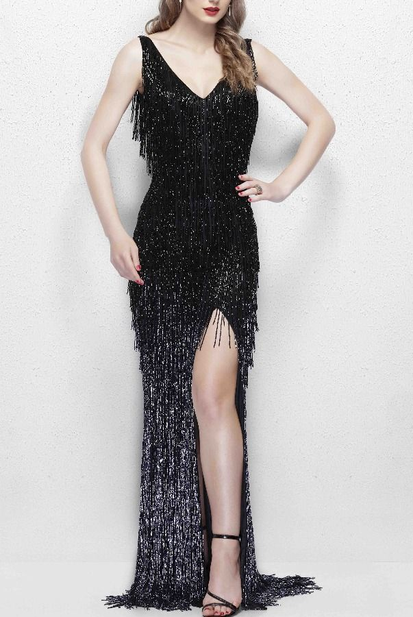 ae54c1369a5f Primavera 3031 Glamorous Beaded Fringe Gown in Black Prom | Poshare  Discover the timeless beauty of Primavera 3031. This glamorous gown is  covered in long, ...