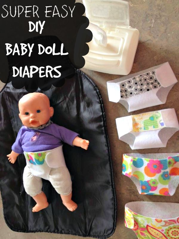DIY Doll Diapers are one of the easiest things to make and little girls LOVE them. Great for stuffed animals too!