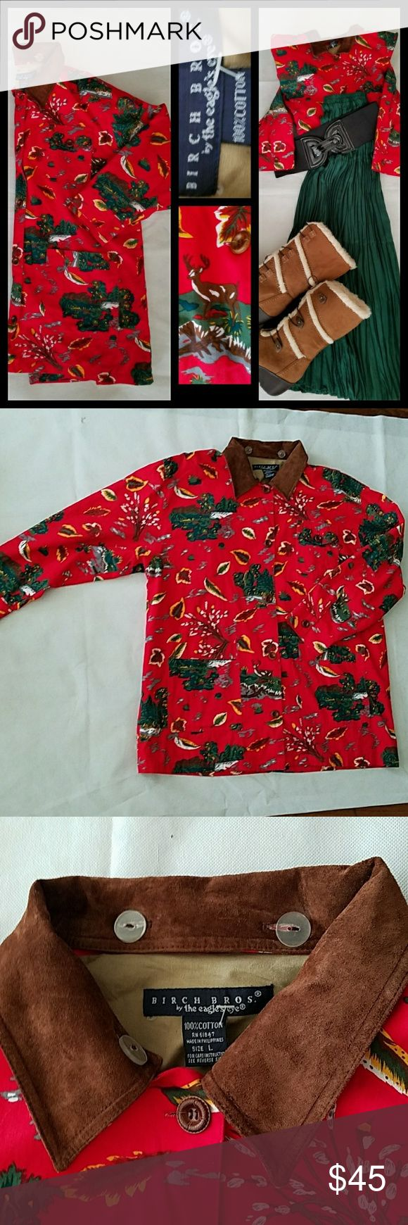 Birch Brothers Falling Leaves/Deers Blazer L NWOT Birch Brothers by the Eagle's Eye New no tags RN 61847  Women's winter pattern  Evergreens & Deers, falling leaves Primary colirs:right red/evergreen  Light jacket/blazer  Brown suede removable collar Long sleeves  3 front pockets Button up through-out  Fully lined Size large  Pit to pit 24 Length 34 100% cotton  Made in the Philippines  Machine washable (removable suede collar) Birch Brothers by the eagle's eye Jackets & Coats Utility…