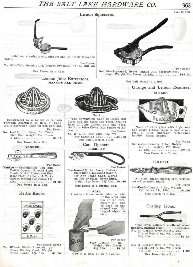 1925 Salt Lake City Hardware Co juicers