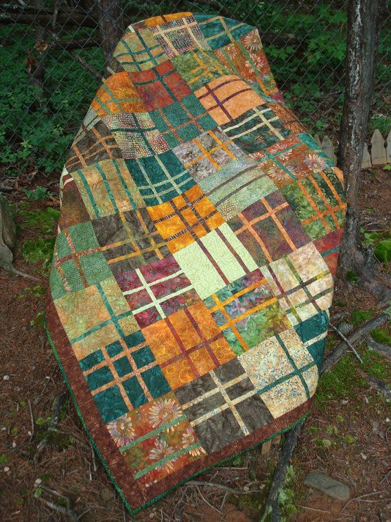 Gold Brown and Green Batik Bed Quilt by Jackiesewingstudio on Etsy