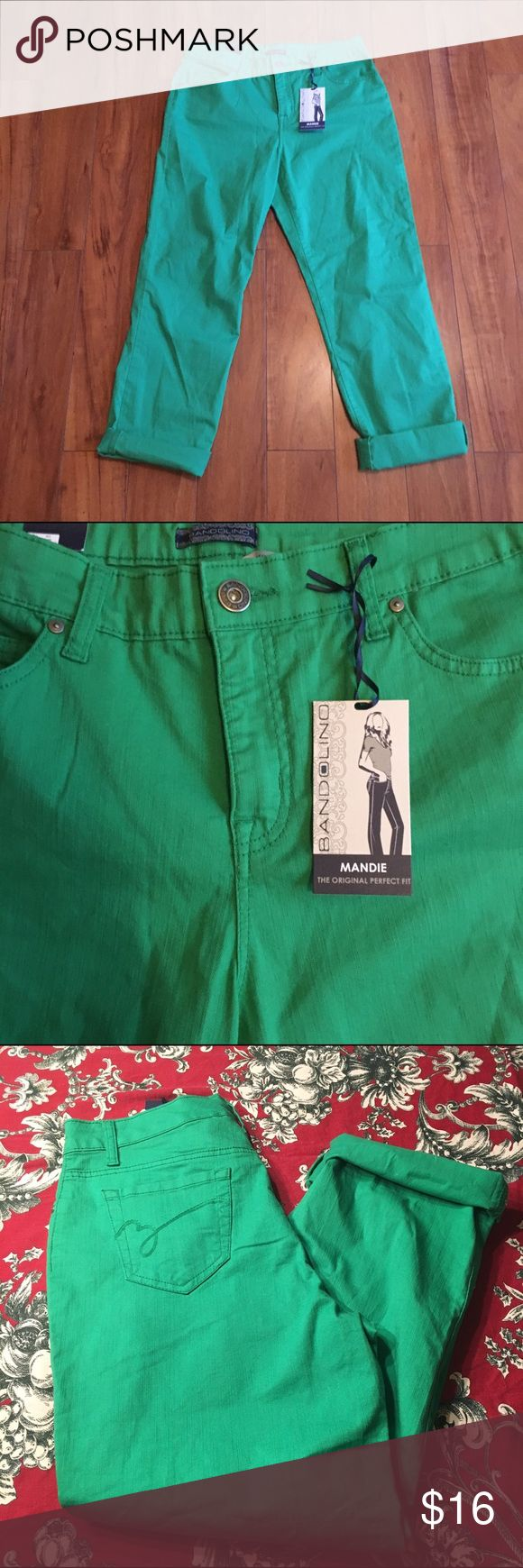 Awesome Kelly green pants NWT Sz 12 NWT gorgeous kelly green straight  jeans. They are a lighter softer material than normal denim. So cute rolled at the hem. Truest color is in second or third picture Bandolino Jeans