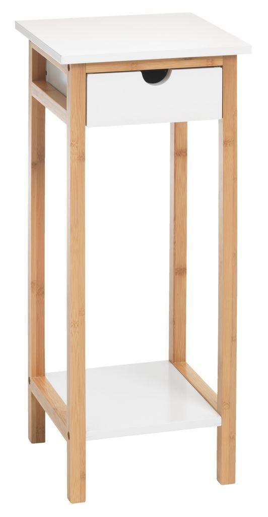 Blomsterbord BROBY bambus/hvit | JYSK