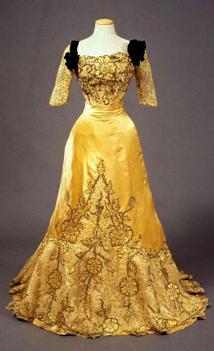 HISTORICAL GOLD & BEIZE PRINTED DRESSES