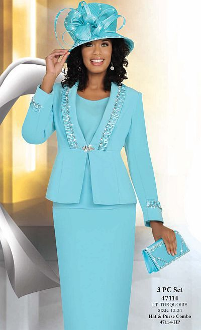 stunning...without the hat...Ben Marc Womens Light Turquoise 3pc Flattering Church Suit 47114