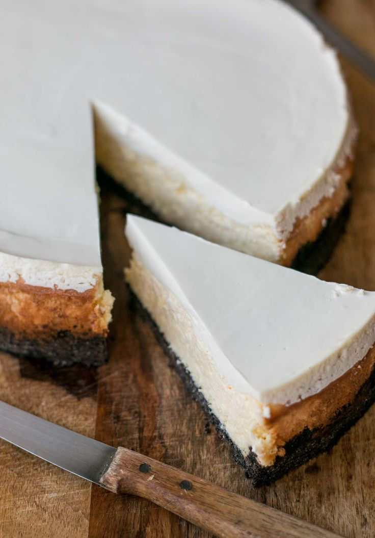 New York Cheesecake: Here's the classic, rich with cream cheese and a silky-smooth sour cream topping!
