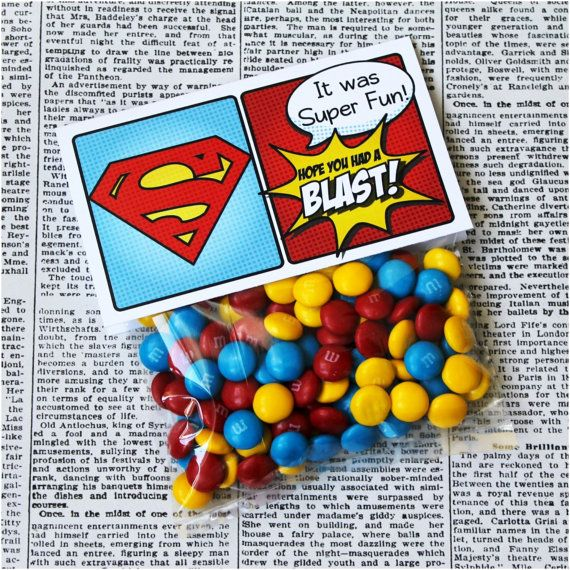 "Superhero Collection. SUPERMAN Favor Tag (5"" wide fold over). DIGITAL DOWNLOAD. DiY Printable Design. Pinkadot Shop on Etsy, $5.00"