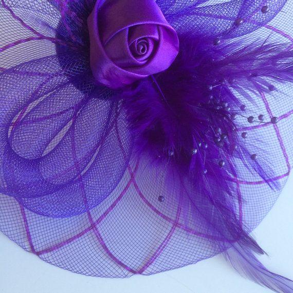 SINAMAY FASCINATOR with Feathers Purple / F by KIMONOSFeathers