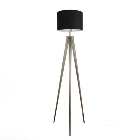 Nero Large Brushed Chrome Tripod Floor Lamp Black Rolla Shade