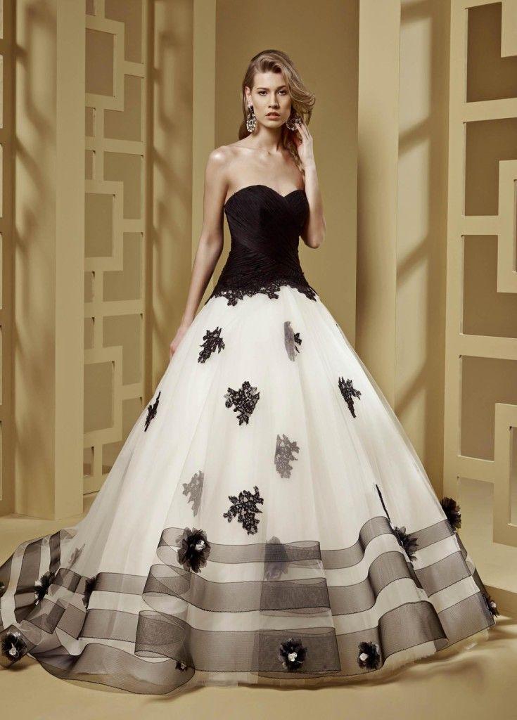 6671f565e953 proposte da weddingplanner Abito linea Romance con corpetto scollatura a  cuore colore nero. tonalità ripresa anche nella gonna ampia …