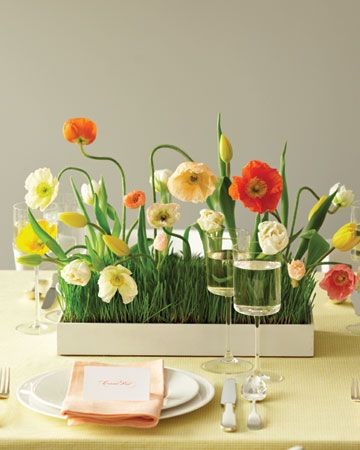 Great for a spring gala // Poppy, tulip and grass centerpiece