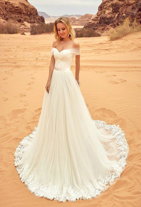 Y Off Shoulder Sleeves Tulle Wedding Dress