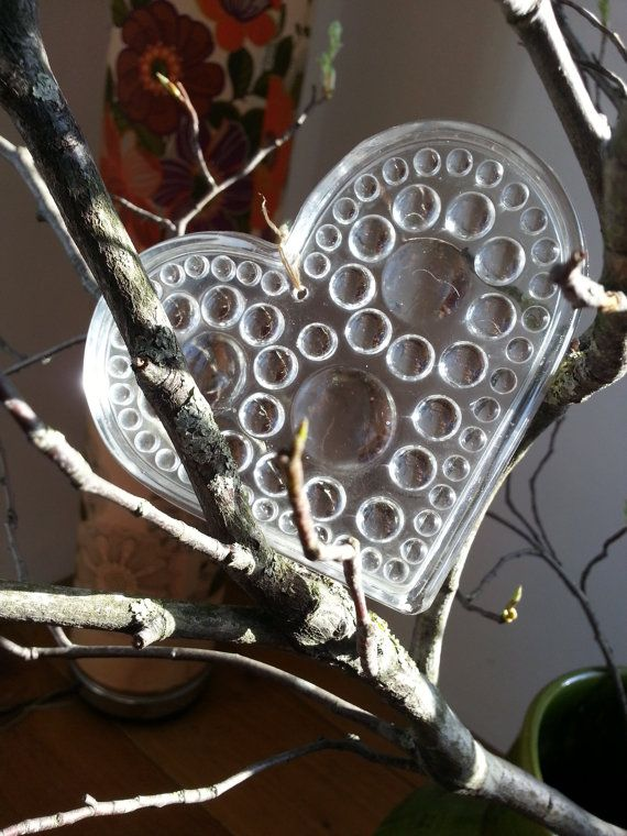 Vintage Hadeland Norway scandinavian crystal glass heart shaped ornament, suncatcher..
