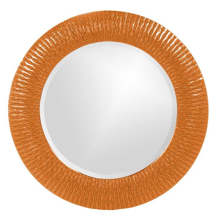 "Howard Elliott Bergman Orange Small Round Mirror 32"" Diameter x 1"""