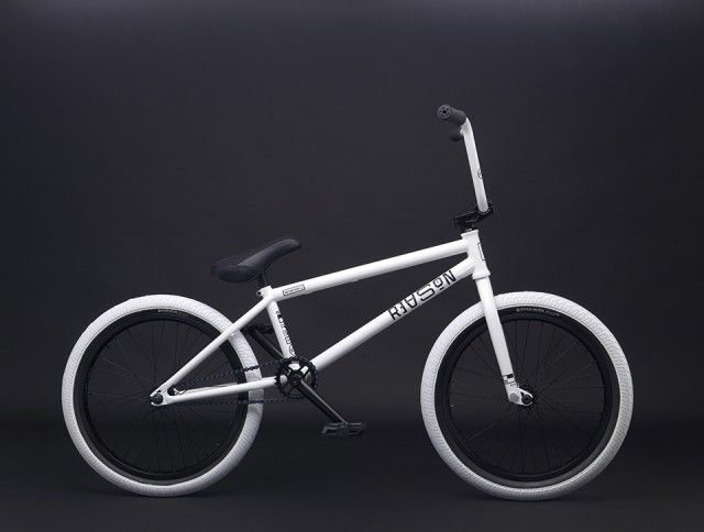 """I'm loving the colorway of this white/black 2015 We The People """"Reason"""" complete BMX bike. It's the decals that make all the different to me."""