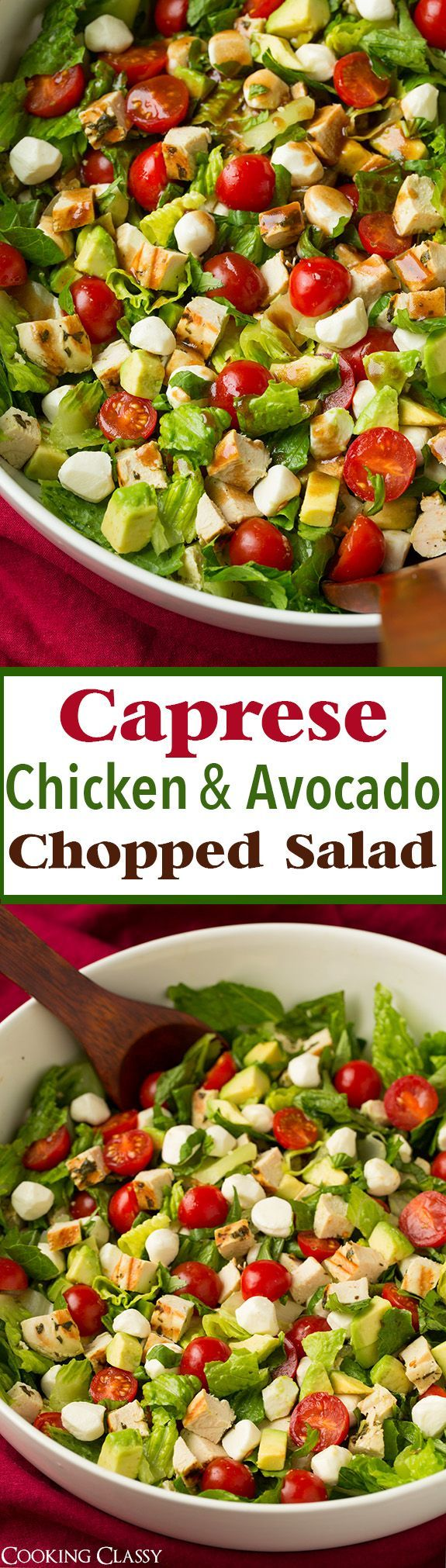 Caprese Chicken and Avocado Chopped Salad - this salad is SERIOUSLY DELICOUS!! Can't wait to make it again!
