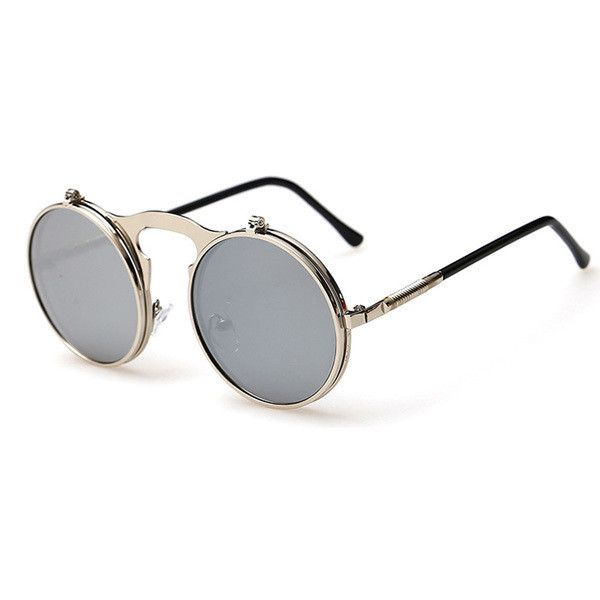 Eyewear Type: Sunglasses Item Type: Eyewear Department Name: Adult Brand Name: QPin Gender: Men Style: Round Lenses Optical Attribute: Mirror Frame Material: Alloy Frame Color: Black Frame Color: Silv