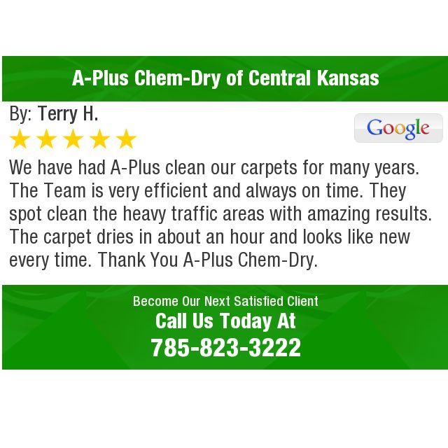We have had A-Plus clean our carpets for many years. The Team is very efficient and.