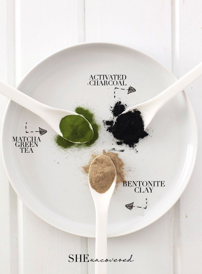 DIY Pore Minimizing Face Mask made from just 3 all-natural ingredients! - activated charcoal, matcha green tea, and bentonite clay