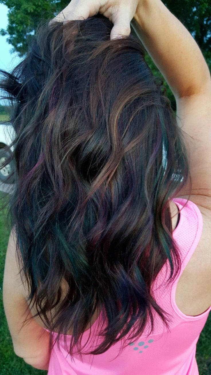 Best 25 blue hair highlights ideas on pinterest colored oil slick color very subtle rainbow highlights for dark hair pmusecretfo Choice Image