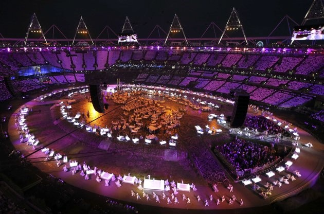Picture shows a general view of the opening ceremony of the London 2012 Olympic Games at the Olympic Stadium