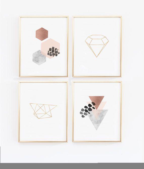 Copper Wall Art- Scandinavian Modern Prints – Geometric Prints – Scandinavian Wall Prints, Marble, Blush, Diamond Print, Hexagon (1400-4)