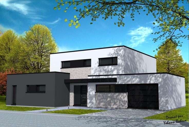 Maison de 3 cubes avec différentes hauteurs, parties en briques grises, enduit blanc et gris, menuiseries noires.Grandes baies vitrées sur l'arrière.