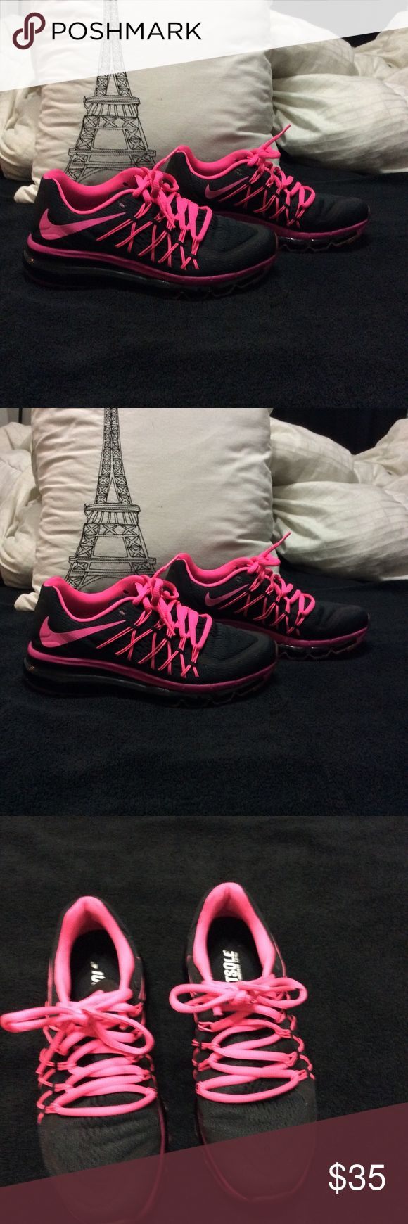 """Nike AirMax custom pink/black rare 6.5 wide Hardly worn pink and black nike air max's. Ordered custom from Nike ID website. One of a kind, made myself online. They are a """"wide"""" shoe. Size 6.5 wide. No box. Nike Shoes Athletic Shoes"""