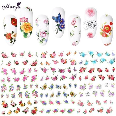 50 Sheet Nail Art Floral Flower Multi Style Watermark Stickers Set