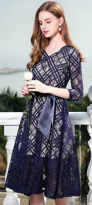 662b294152 Elegant Lace V-Neck Bowknot Lacing Hollow Out Skater Dress