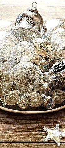 Silver mercury glass Christmas ornaments     ... Ðℯck Ʈհe HÅĿĿs