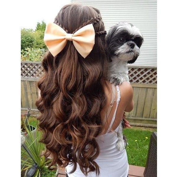 Braids, Curls, Bows ❤ liked on Polyvore featuring beauty products, haircare, hair styling tools, hair and hairstyles