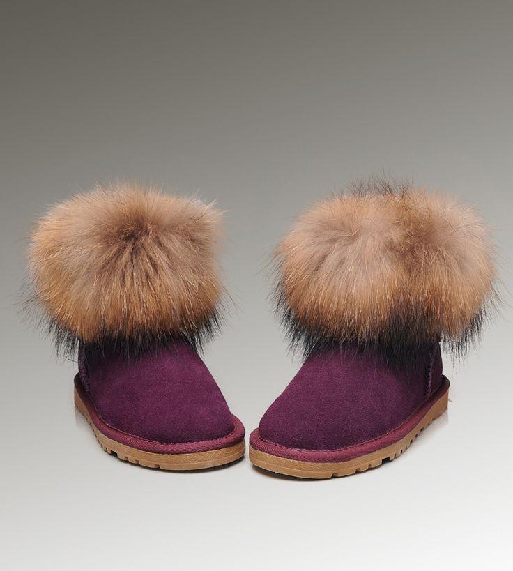 UGG Støvler Tilbud-UGG Mini Fox Fur 5854 lilla Boots