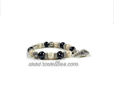 "7"" Stretch Fresh Water Black White Pearl Bracelet with Heart charm"