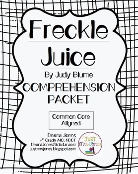 FREE Comprehension Packet for Freckle Juice by Judy Blume.  Easy-to-use, printable, Common Core aligned