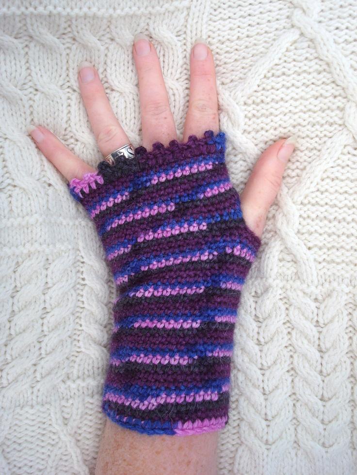 Alpaca Fingerless Mittens Wrist Warmers Crochet Fingerless Gloves Handmade in Ireland. $30.00, via Etsy.