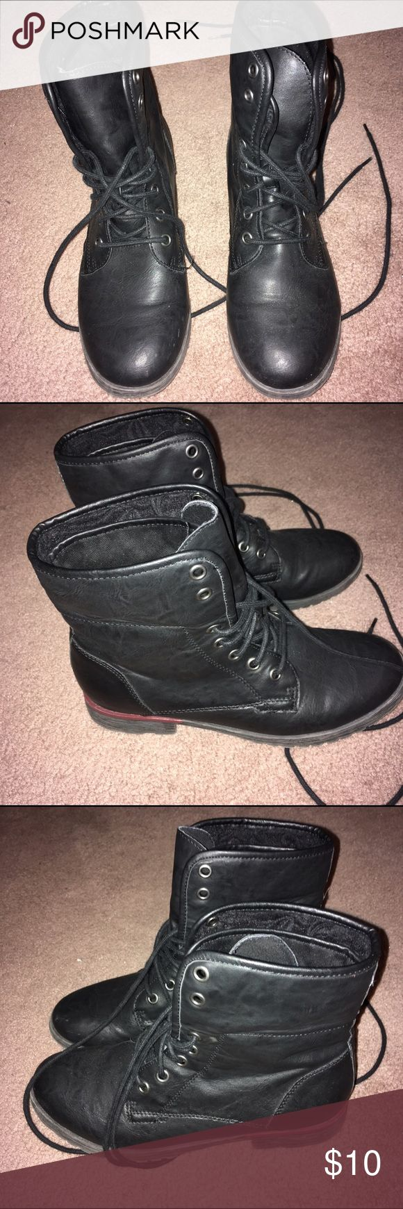 black combat boots these black combat boots are perfect for any season and any outfit. super cute and comfy and they fold as shows in the last picture. Shoes Ankle Boots & Booties