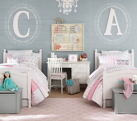 If we have two girls in a row...initial above headboard, toy box at the end of each bed