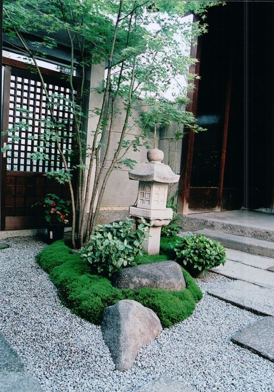 Rock, monument, moss, leaf and bamboo. A layer effect of all elements