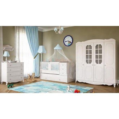 Babi Baby Mina Mega Bebek Odası Takımı.  4 Kapaklı gardırop. Yavru yataklı büyüyen beşik. Şifonyer.