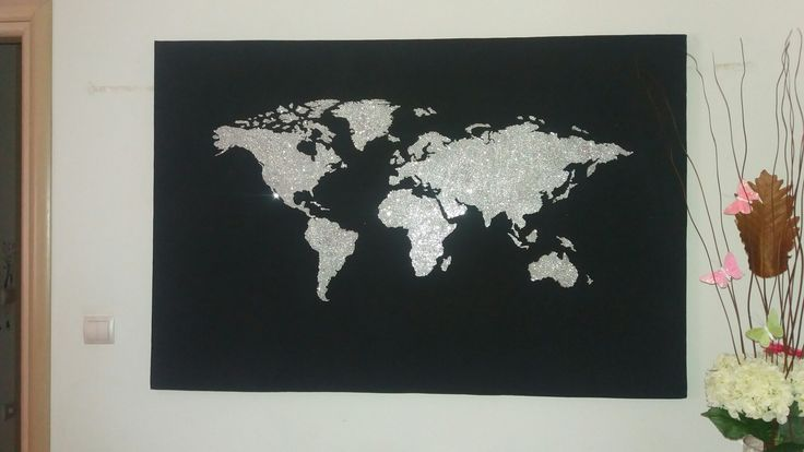 DIY World Map. Home decor, black canvas with glitter.  Design the world map in your canvas then add the craft glue on the design and cover it with silver glitter.