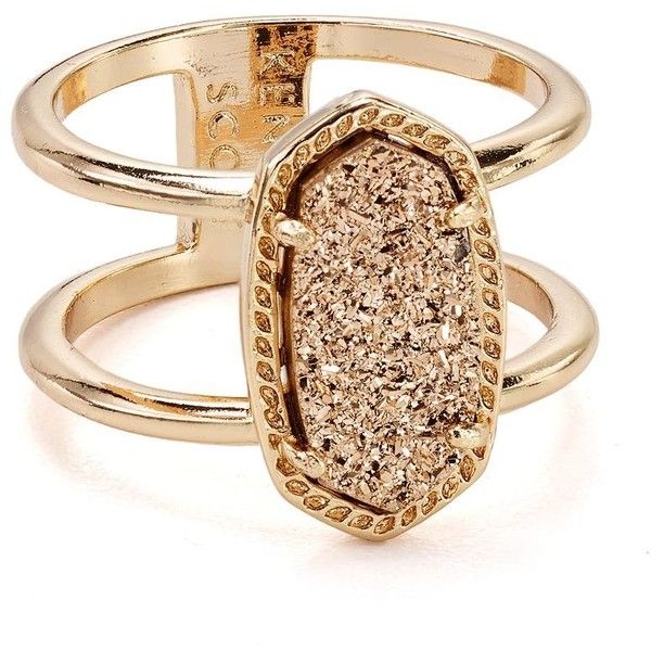 Kendra Scott Elyse Cocktail Ring ($70) ❤ liked on Polyvore featuring jewelry, rings, gold jewellery, yellow gold cocktail rings, iridescent jewelry, drusy ring and gold ring