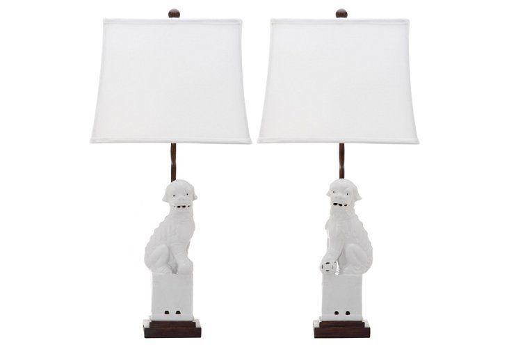 Foo Dog Table Lamp Set, White