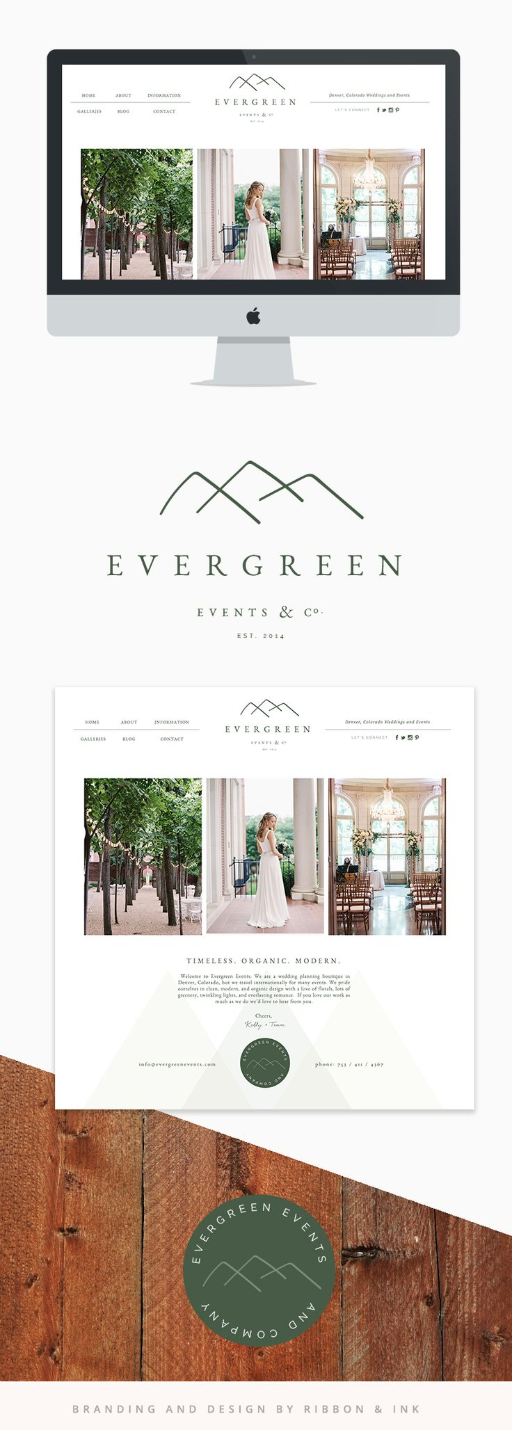 Branding / Web design / website / photographer website / custom website / website ideas/ website inspiration / Brand board / brand design / custom logo / photographer brand / photographer logo / color palette / logo design / organic / wood / green / mountains / wedding planner