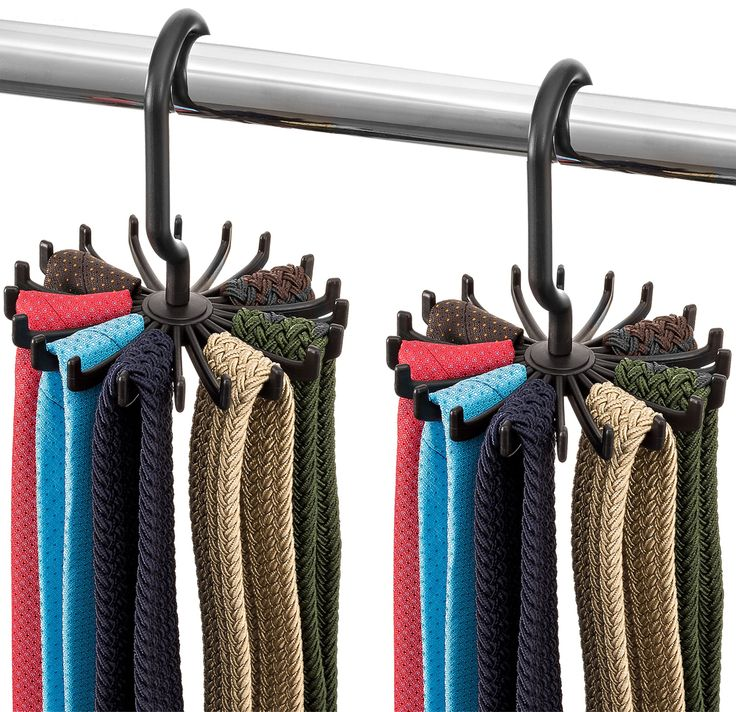 """Zober Spinning Tie Rack and Belt Hanger (2 Pack) Ultimate Hanger Holder Hook for Storing Neck Ties, Belts, and Scarves - 4.33"""" x 5.33"""""""