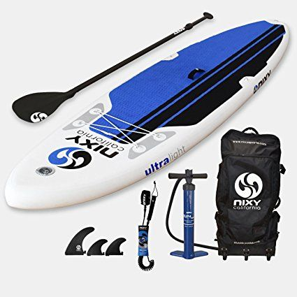 "NIXY All Around Inflatable Stand Up Paddle Board Package. Ultra Light 10'6"" Newport Blue & White Paddle Board Built with Advanced Fusion Laminated Dropstitch Technology and 2 YR Warranty"