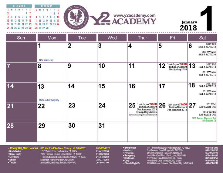Calender of 2017-18 for #ACT & #SAT courses registration!! Choose the option that can work for you! Admissions are open! Register your name now!