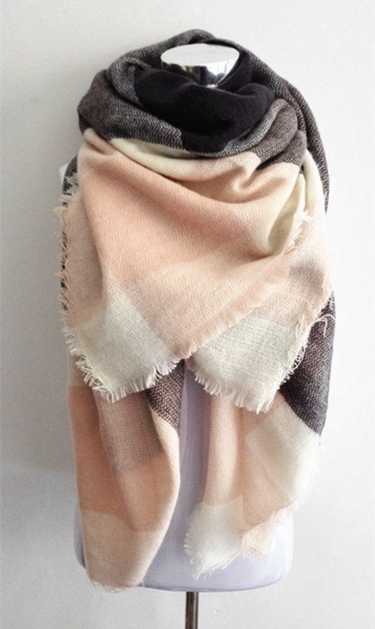 This Light Pink Plaid Blanket Scarf is a must have this fall! Material: Cotton